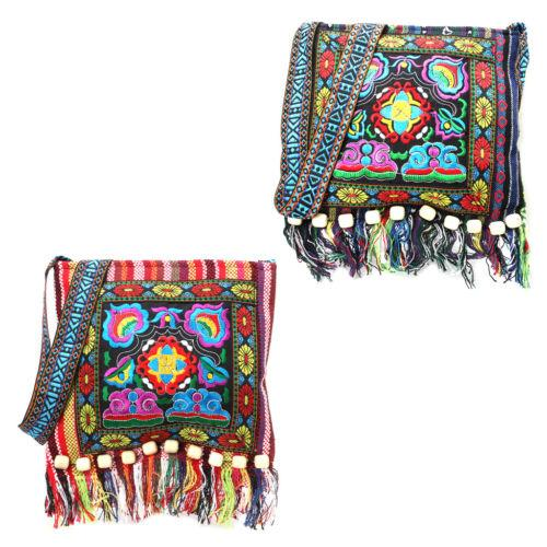 Hmong Vintage Ethnic Shoulder Bag Embroidery Boho Hippie Tassel Tote Messenger Chinese Ethnic Style Colorful Bag
