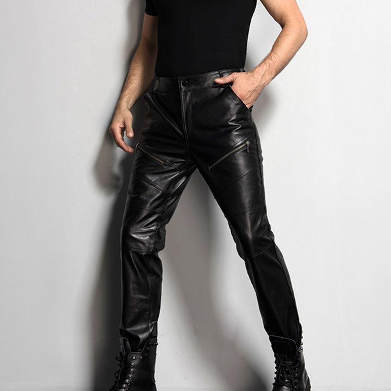 Herren-Motorrad-Radfahrer Ganzkörper Hosen neue Art und Weise Männer Hosen echtes Leder-Schaffell Slim Fit koreanische Art Pelz-Futter