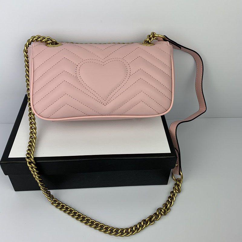 De haute qualité coeur femmes Mode Amour V Motif en vagues Satchel Sac à main chaîne Sac à bandoulière sac fourre-tout sacs Lady 443497 avec sac-cadeau