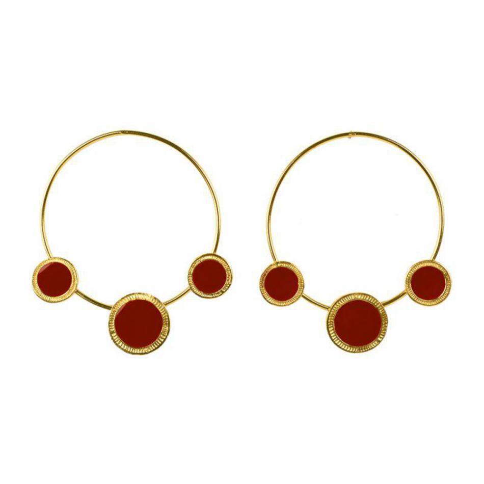 Baumel kronleuchter mode gold farbe große schleifel ohrringe böhmischen rot schwarz kreis runde fall ohrring für frauen mädchen reisen schmuck