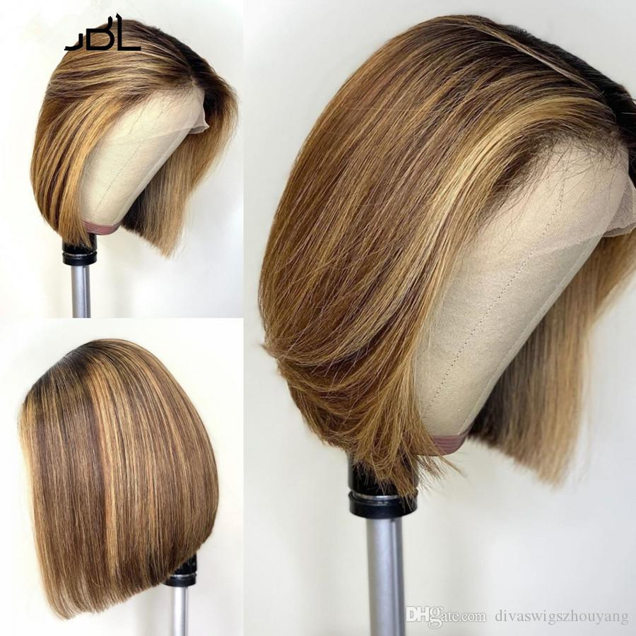Corto Bob 4 Ombre 27 Color de 13x4 Relación frente a mitad de encaje pelucas de pelo humano brasileño de Remy Pre-desplumados pelucas