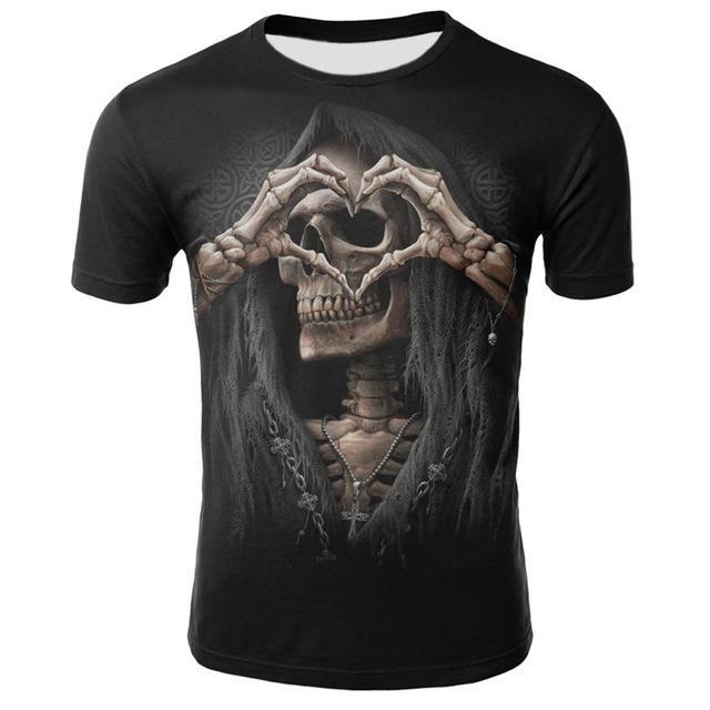 dressing2020 Mens 3d manga curta T shirts de Moda Masculina Nova verão camiseta crânio Morte Casual 3D Imprimir top de manga rocha camisetas For Man Curto