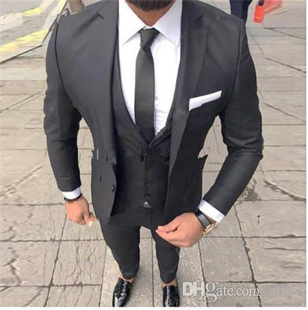 2020 Handsome One Button Groomsmen Notch Lapel Groom Tuxedos Men Suits Wedding/Prom/Dinner Best Man Blazer(Jacket+Pants+Tie+Vest)