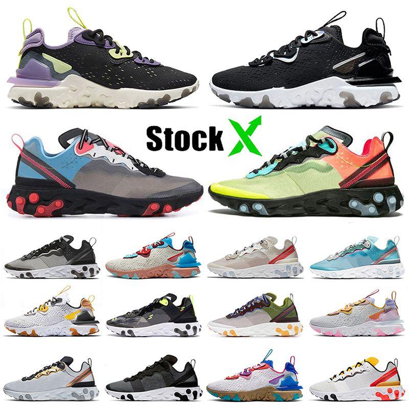Nike React Vision React Element 55 Undercover 87 2020 Üst EPIC Ayakkabı Eleman 55 UNDERCOVER 87 Koşu Ayakkabıları Erkek Kadın Siyah Yanardöner Yerçekimi Mor Eğitmenler Sneakers