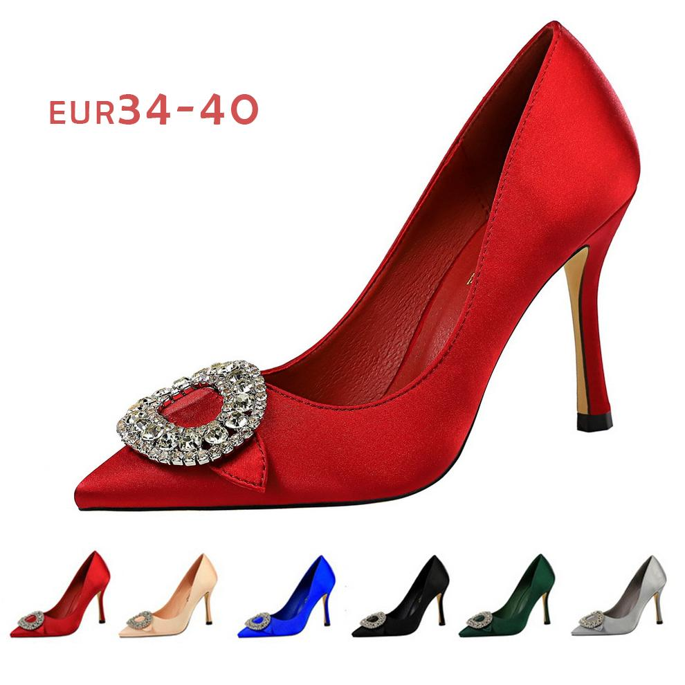 Wholesale New Fashion Lady Dress Shoes Stain Rhinestone Pointed Toe High Stiletto Heels Sexy Party Festival Wedding Shoes Women Pumps