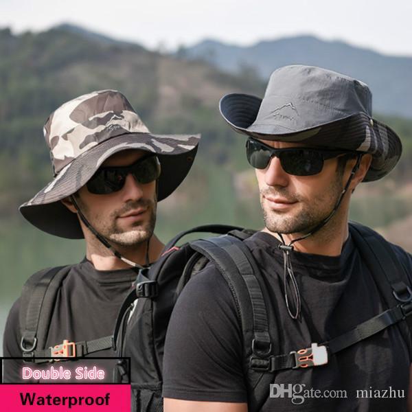 Yeni Erkekler Çift Yan Kova Şapka Geniş Ağız Boonie Kap Güneş Kremi Katlanabilir Balıkçılık Yürüyüş Avcılık Açık Güneş Koruyucu Balıkçı Şapkaları Unisex