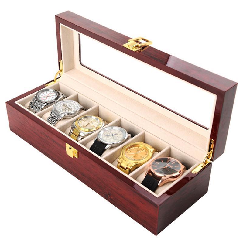 Оптовые Женщины Мужчины 6 Слоты Смотреть Box Деревянный ящик для хранения ювелирных изделий устроителя хранения витринного горячее
