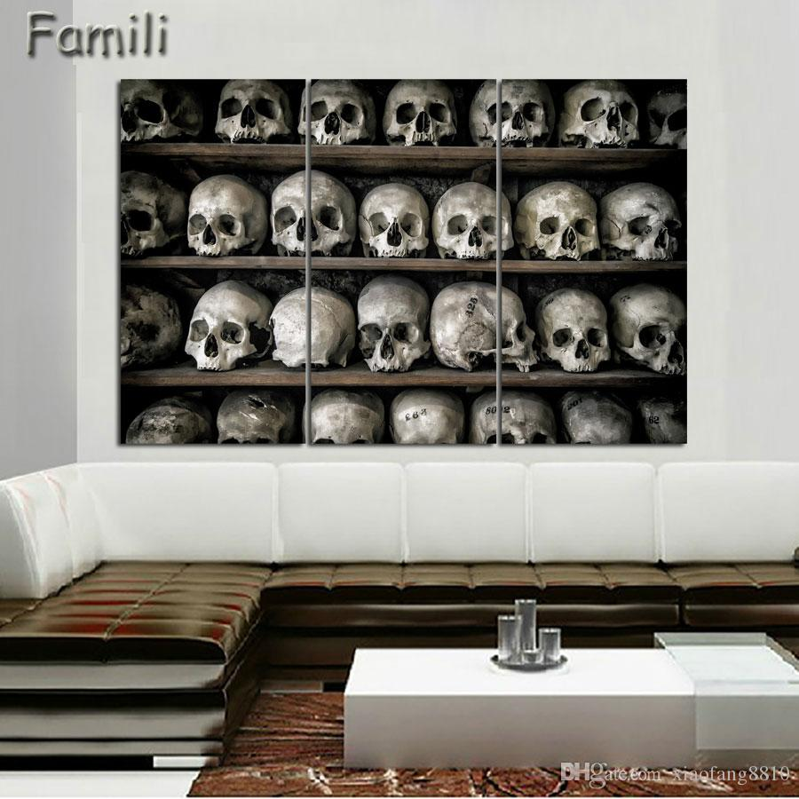 3 panel large HD printed painting digital skull canvas painting art modern home decor wall art picture for living room