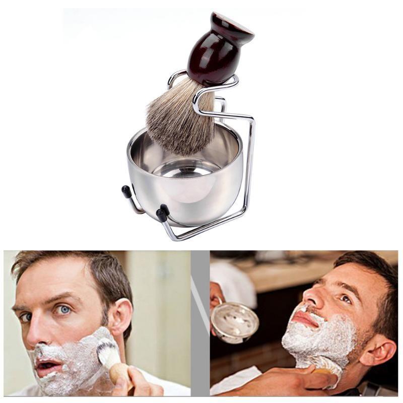 Pennello da barba Set Shave Brush Badger Legno Maniglia in acciaio inox Shave stand Bowl Casa Bathrooom'S rasatura Tool Kit Men