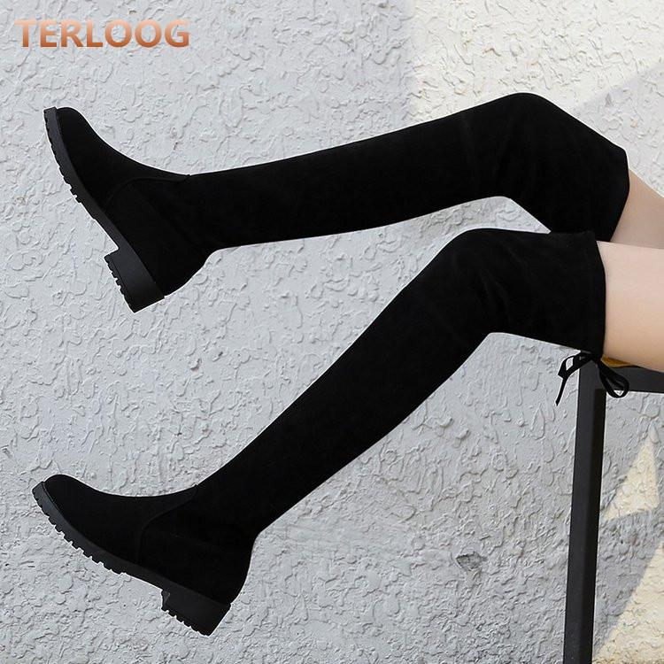 겨울 가을 여성은 무릎 눈 부츠 여성의 섹시한 레이스 지남에 낮은 발 뒤꿈치가 허벅지 높은 부츠 신발 겨울 mujer 드레스