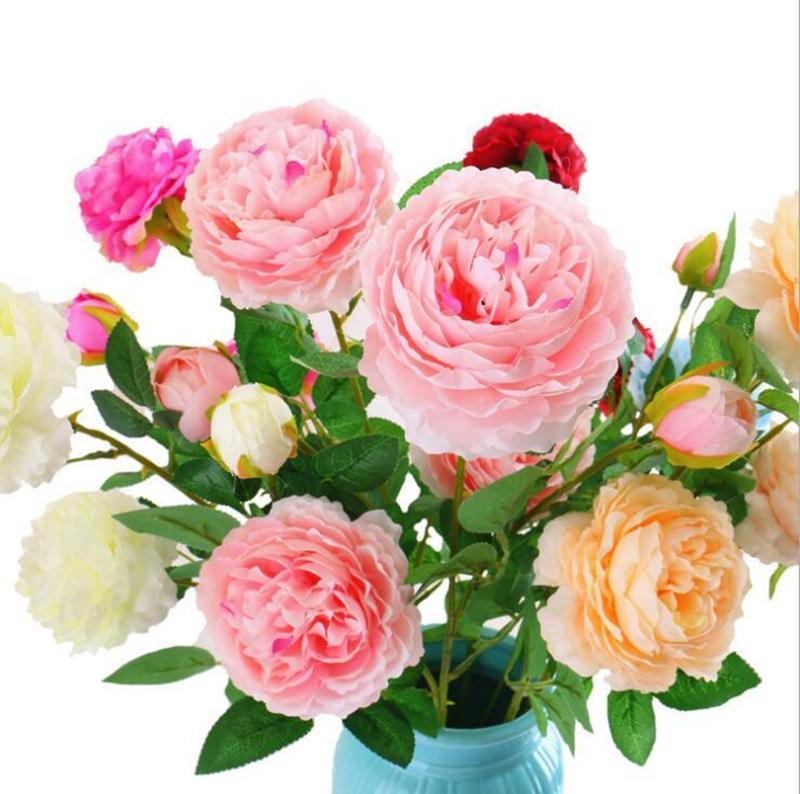 الاصطناعي روز الزهور وهمية ورقة الحرير باقة الزفاف 3 رؤساء زهرة الفاوانيا الجدول الرئيسية مكتب ديكور DDA123
