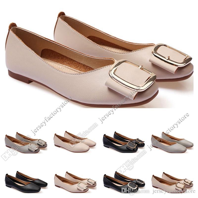 أحذية السيدات الأحذية المسطحة حجم الجعة 33-43 إمرأة جلد فتاة عارية أسود رمادي جديد arrivel العمل الزفاف حزب اللباس ثلاثة وأربعون
