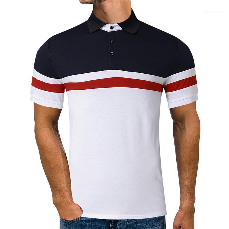 Camisa Polo Casual Lapel Mens Verão Neck Tops cores dos retalhos Mens Designer Polo Moda slim Curto