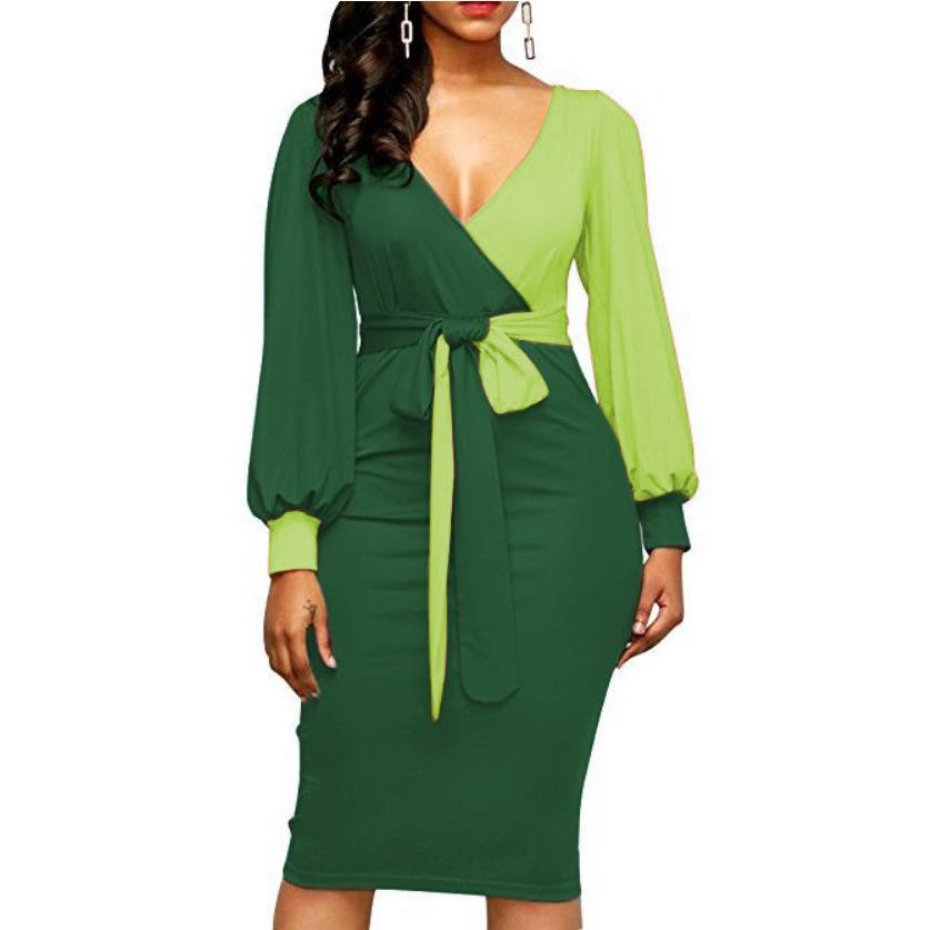 Женская мода Пояса Sexy Office Леди Рабочее платье с длинным рукавом Глубокий V шеи Контрастный цвет рубашки платье 2018 Зима Женщины Xxl
