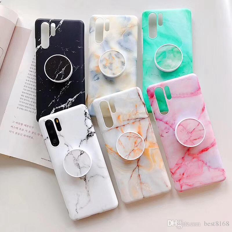 Marble Matte Frosted Soft TPU Case For Iphone XR XS MAX X 8 7 6 Samsung S10 S10e S9 Luxury Stone Rock Cover+With Bracket Grip Ring Holder