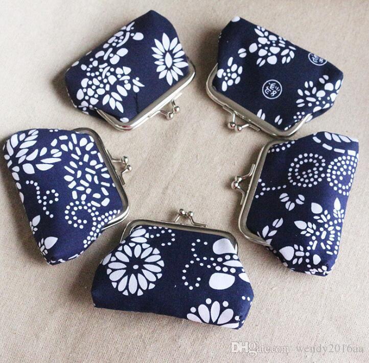 Ulusal Stil Çiçek Baskı Kısa sikke çanta tuval anahtarlık cüzdan çile küçük hediyeler çanta debriyaj çanta