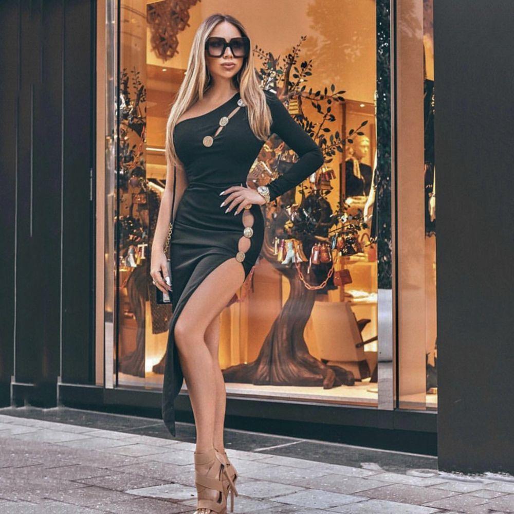 2019 estate sexy europeo aderente di un pezzo sottile vestito irregolare profonda V