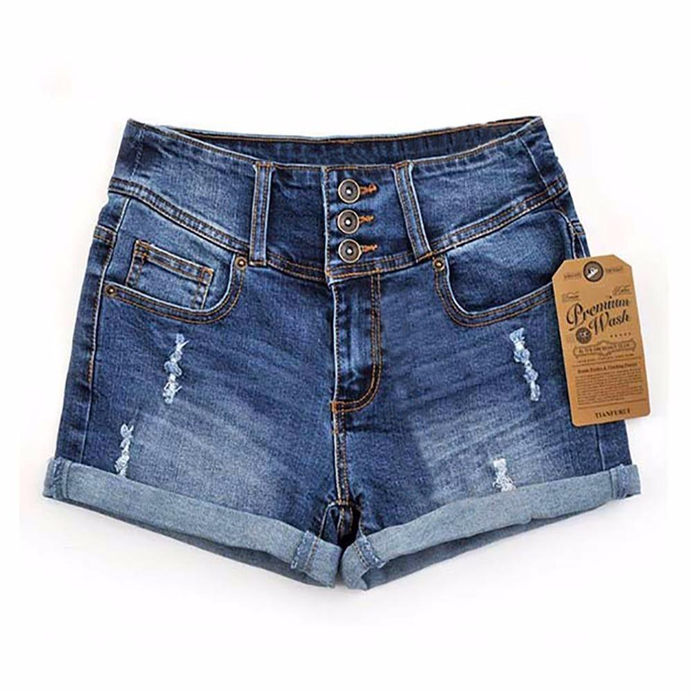 2018 Summer New Korean Women Thin Beaded Three-dimensional Hole High Waist Shorts Denim Shorts For Women Loose Plus Jeans Short SH19062601