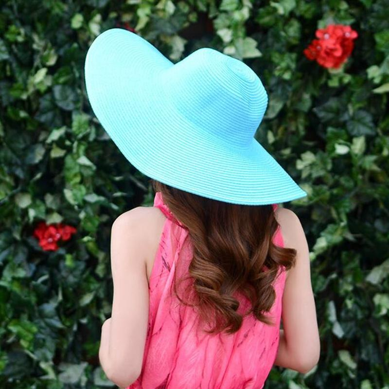 Hot 2017 mode femmes Chapeaux de plage pour les femmes d'été chapeau de paille chapeau de plage chapeaux de soleil Sexy ladies Noir et blanc chapeau à large bord