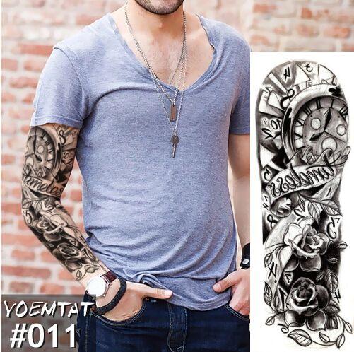Temporary Tattoo Sticker Clock Rose Full Flower Tattoo With Arm Body ...