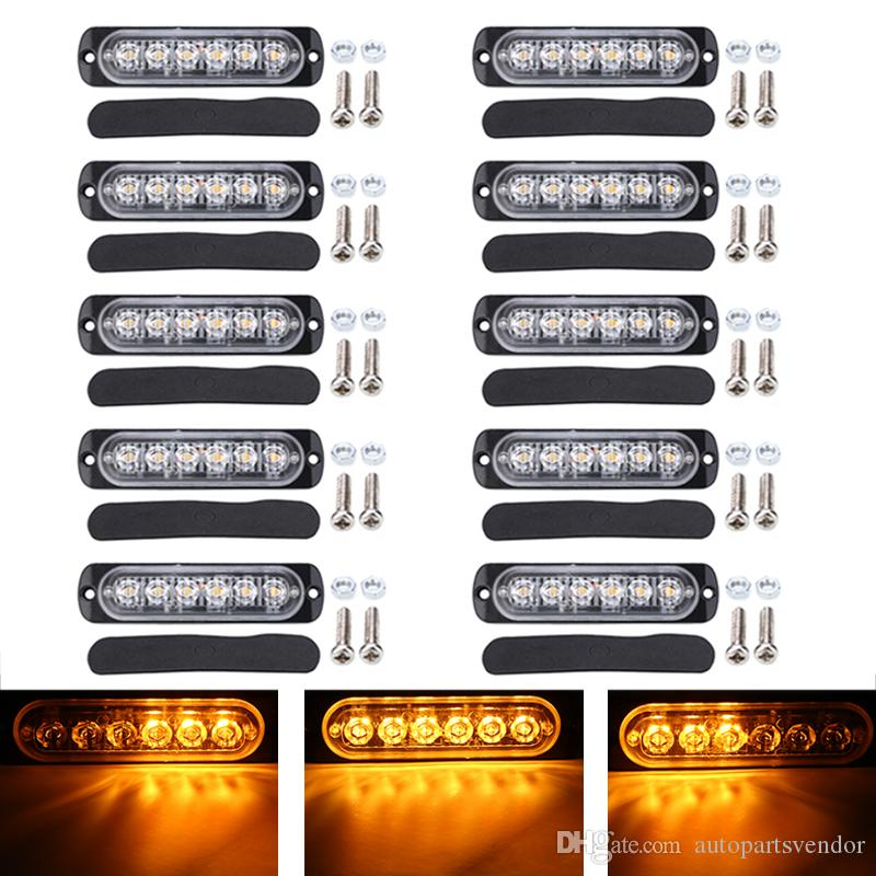 10pcs Amber 6LED Emergency Hazard Warning Beacon Flash Strobe Light DC 12-24V 18 Flashing Modes Turn Signal Lamp