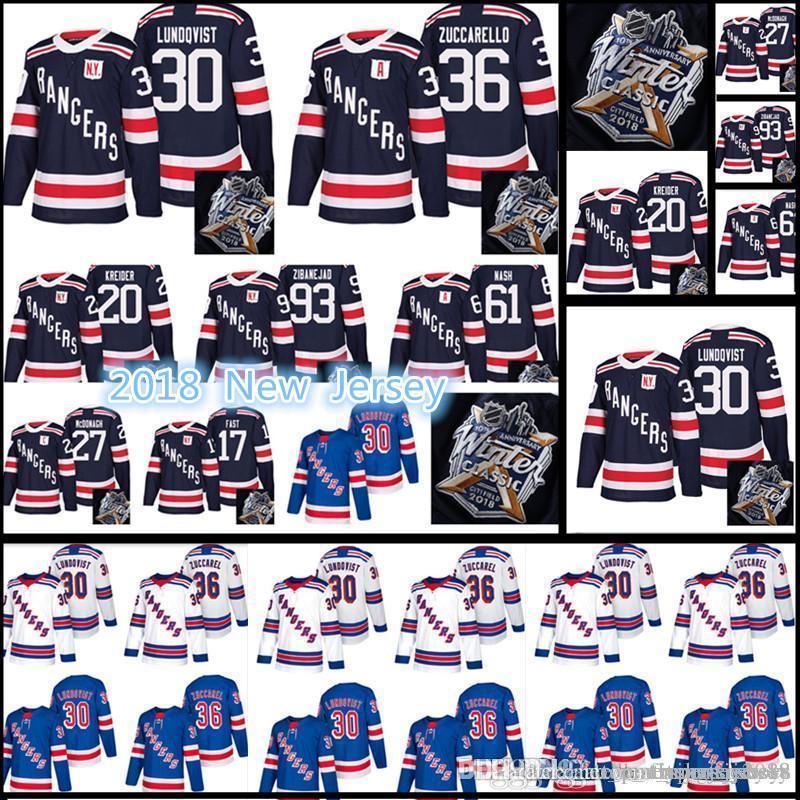 # 30 Henrik Lundqvist 36 Mats Zuccarello 20 Kreider 93 Zibanejad 27 McDonagh Inverno Classic Maglie 17-18 New York Rangers Jersey Uomo