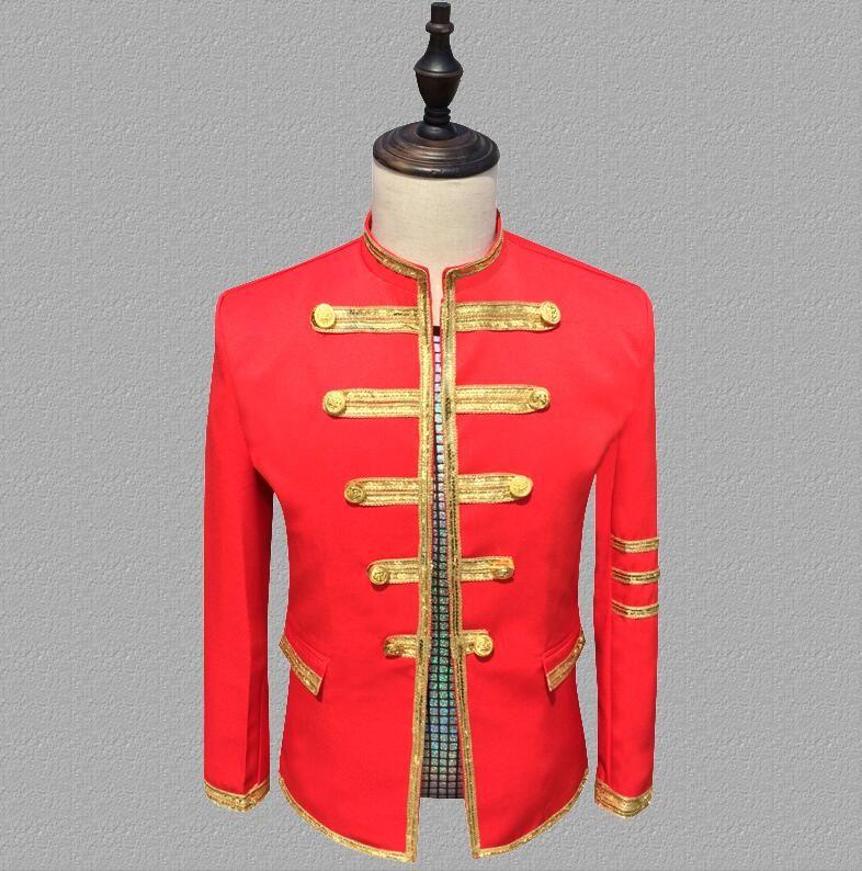 Red blazer men suits designs jacket mens stage Lace uniform singers clothes dance star style dress punk rock masculino homme terno