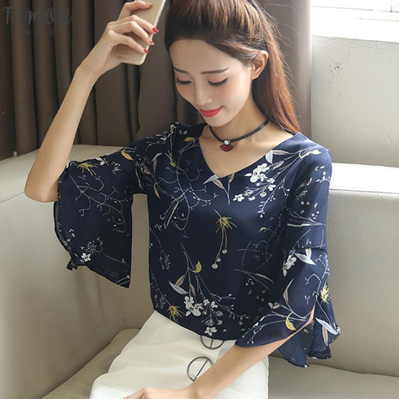 Cosy Summer Women Shirt Small V Neck Female Blouses Korean Sweet Floral Ruffled Butterfly Sleeve Chiffon Tops Harajuku Blusas