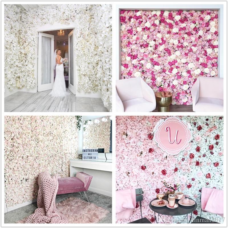 40x60cm de soie rose mur mur we40x60cm 8 couleurs décoration de silkdring décoration de fond artificiel fleur mur mur romantique décor de mariage romantique