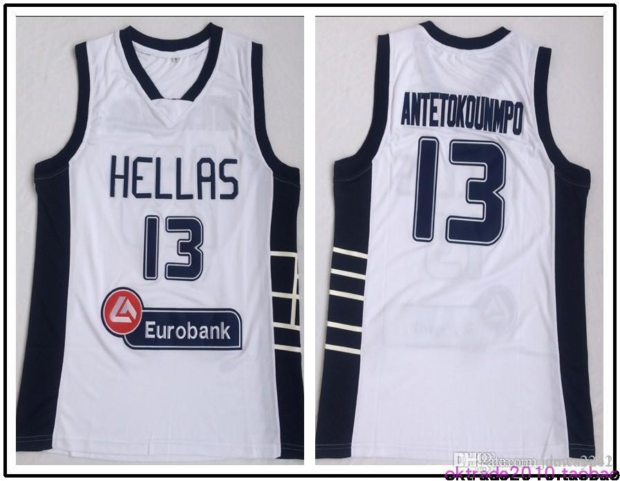 Grecia Hellas Colegio jerseys El alfabeto de baloncesto 13 Giannis Antetokounmpo Jersey Hombres blanca del equipo deportivo transpirable envío de la gota Uniforme