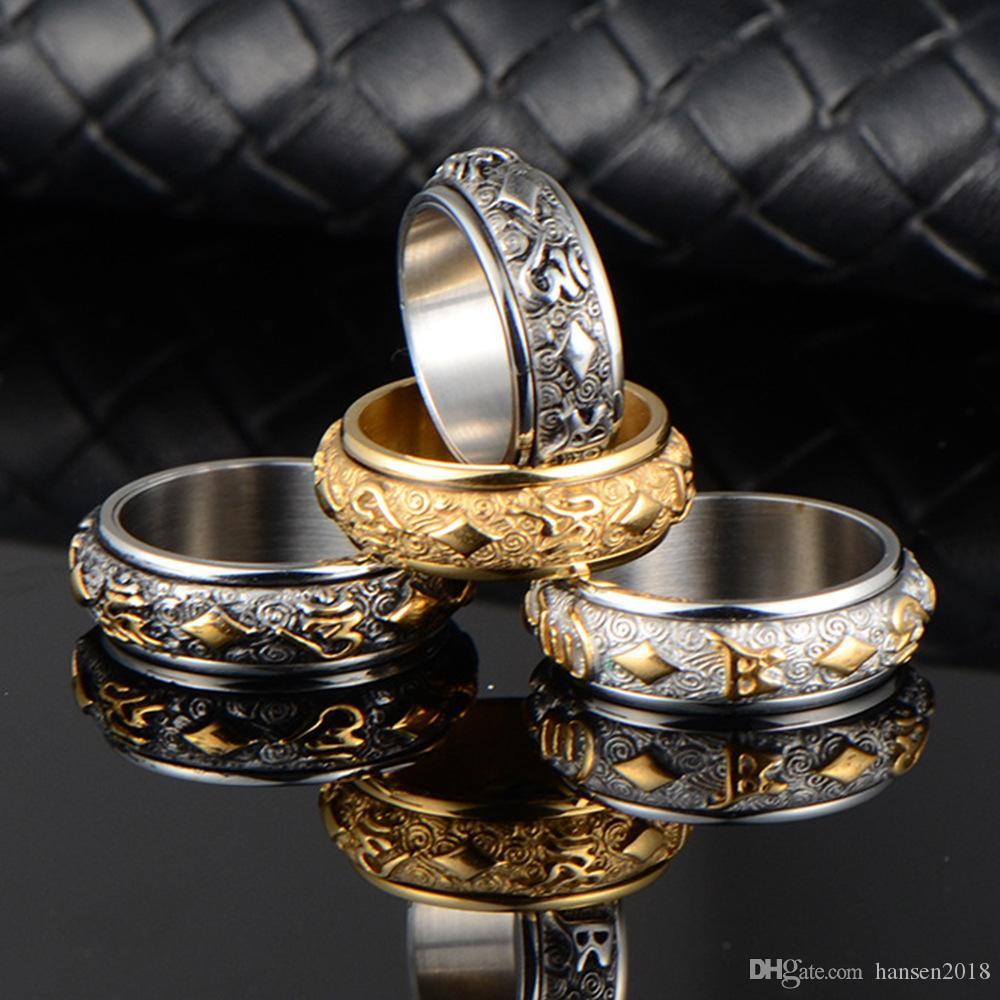 Religiöse Titanstahlringe für Männer Schmucksache-Goldfarben-Spinner Buddhismus Drehbare Ring der Männer Laser-Name Großhandelspreis 2020