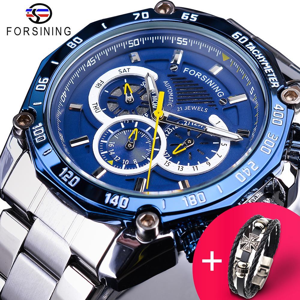 Forsining Watch + Bilezik Seti Kombinasyon Mavi Takvim 3 Dials Gümüş Paslanmaz Çelik Otomatik Mekanik Saatler Erkek Saat