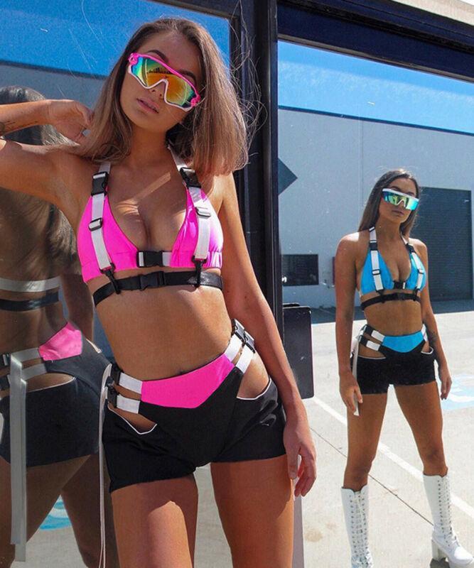Femmes Sexy Deux Pièces Boucle Survêtement col V Halter Bra bustiers Corsets Crop Débardeurs taille haute évider Shorts Pantalons club