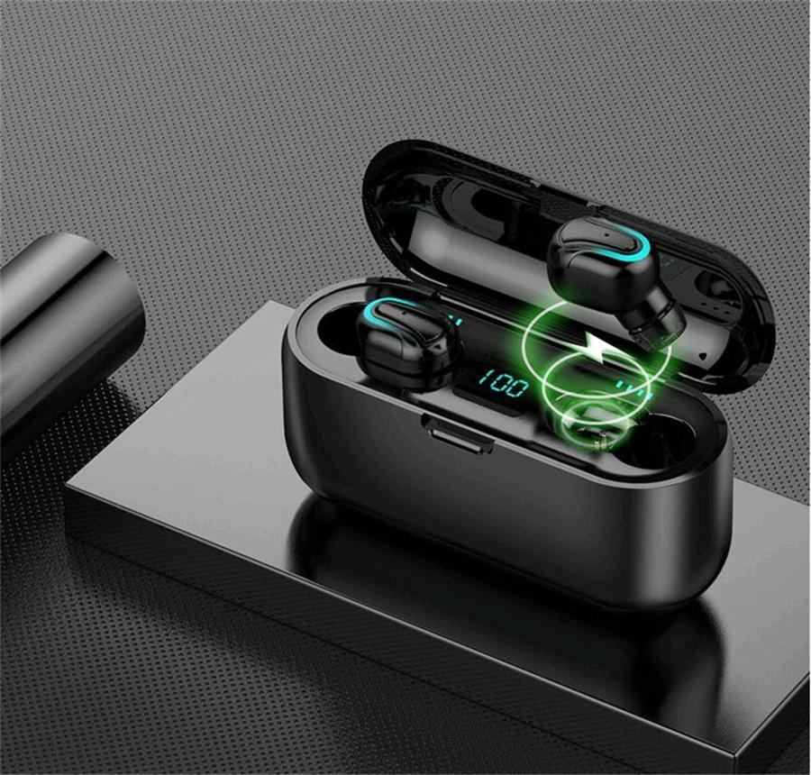 E6S TWS Wireless-Earbuds Kopfhörer Bluetooth Hifi Sound-5.0 mit Dual-Mikrofon-Kopfhörer mit LED Digital Charging Box # OU857