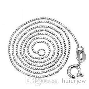 925 Collier en argent pour femmes Box 16 / 18inch 925 Sterling Sterling blanc laiton plaqué platine chaîne longue chaîne joliment colliers
