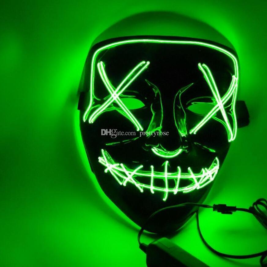 Máscara de Navidad Máscaras de fiesta con luz LED Año de elección de purga Grandes máscaras divertidas Festival Suministros de disfraces de cosplay Brillan en la oscuridad 10 colores