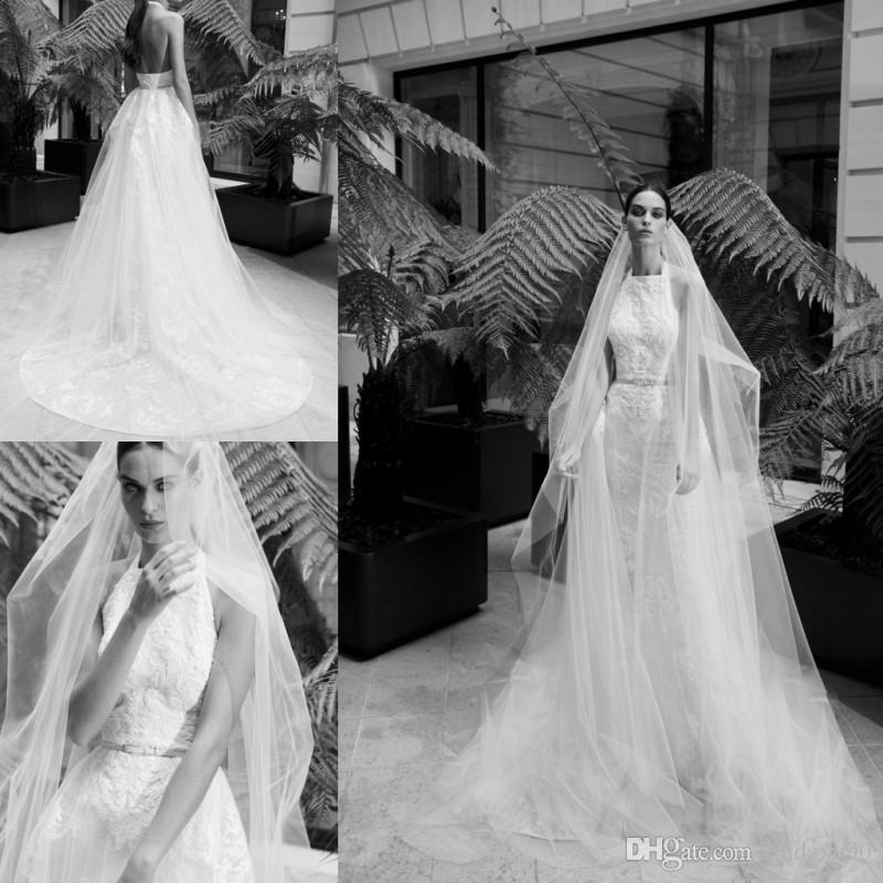 Elie Saab 2019 Mermaid Brautkleider mit abnehmbarem Zug Neckholder Spitze Appliqued Brautkleid-Brautkleider nach Maß