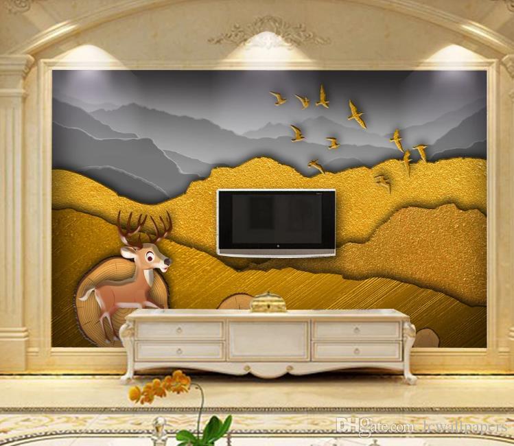 tinta paisaje encargo mural del papel pintado 3D extracto de oro Fondos Salón Dormitorio Decoración fondos de pantalla murales