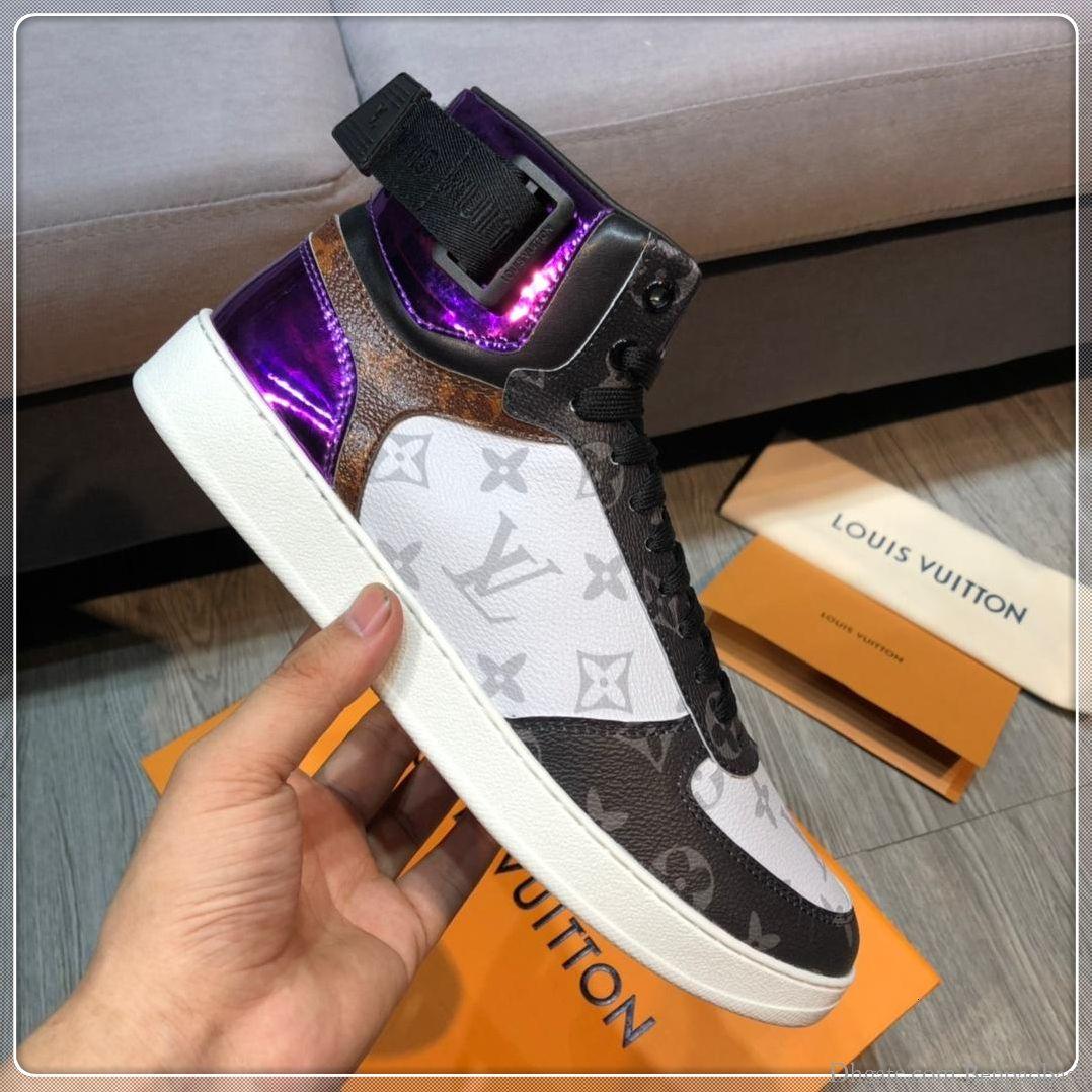 2019 yüksek kaliteli açık seyahat spor ayakkabıları, yüksek top kemer lastik ayakkabı deri rahat ayakkabılar orijinal kutusunda bir kuşak