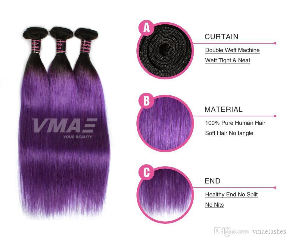 VMAE Brazilian Remy Virgin Hair Extensions Straight Human Hair Weaves 3Pcs Weft Two Mix Ombre Color Purple Blue Green Gray Bundles Grade 11A