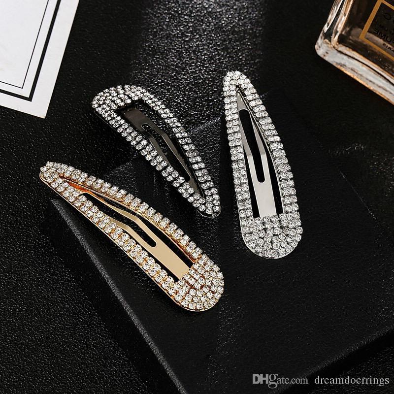 Europea USA di vendita caldo forcine dal design di lusso di goccia d'acqua di cristallo a forma di clip di capelli per le donne Ragazze