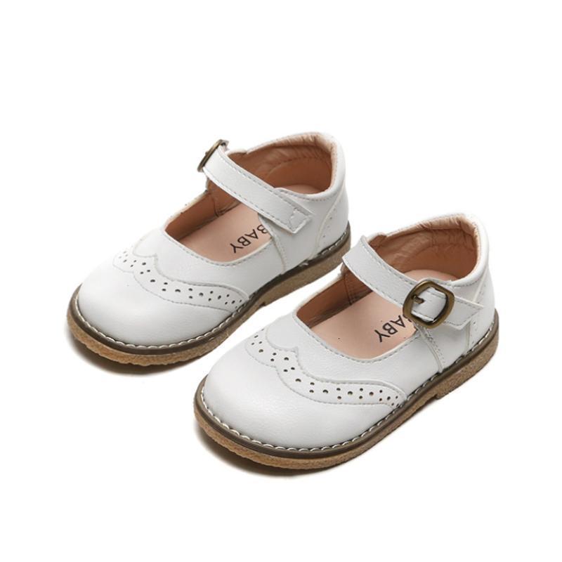 أطفال أحذية الأميرة بنات مدرسة أحذية جلدية الأبيض الأسود الوردي للأطفال حزب اللباس شقة ليتل بنات الطفل عرضي حذاء رياضة