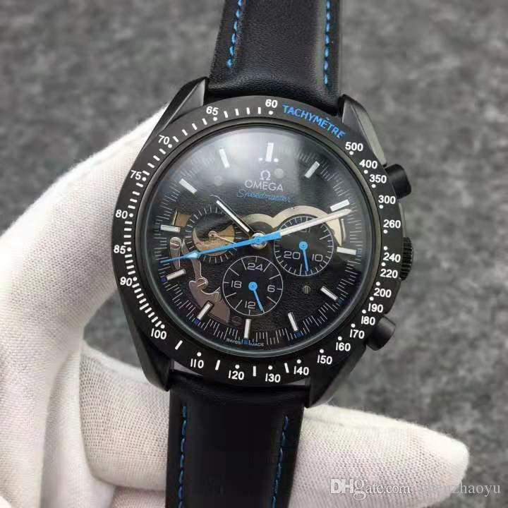 mens relógios atacado banda 007 cronógrafo 215,32 orologio di relógios movimento automático desingers 44 MM de nylon leatherstrap relógios de pulso