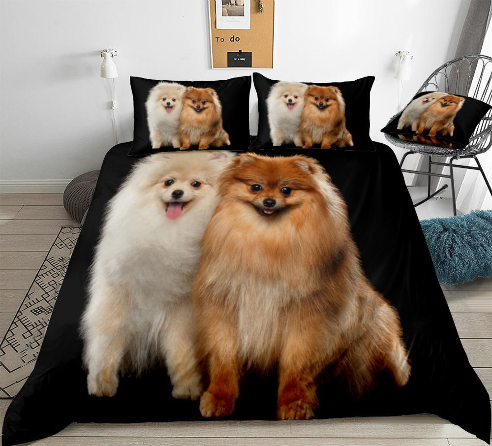 3D Cute White and Red Pomeranian Duvet Cover Set Dog Bedding Kids Boys Girls Black Background Pet Quilt Cover Queen Dropship