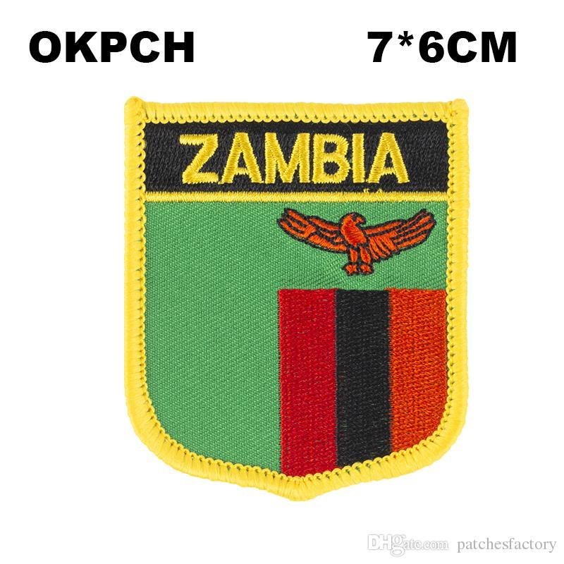Drapeau de la Zambie Fer à broder sur les correctifs de broderie correctifs Badges pour vêtements PT0214-S