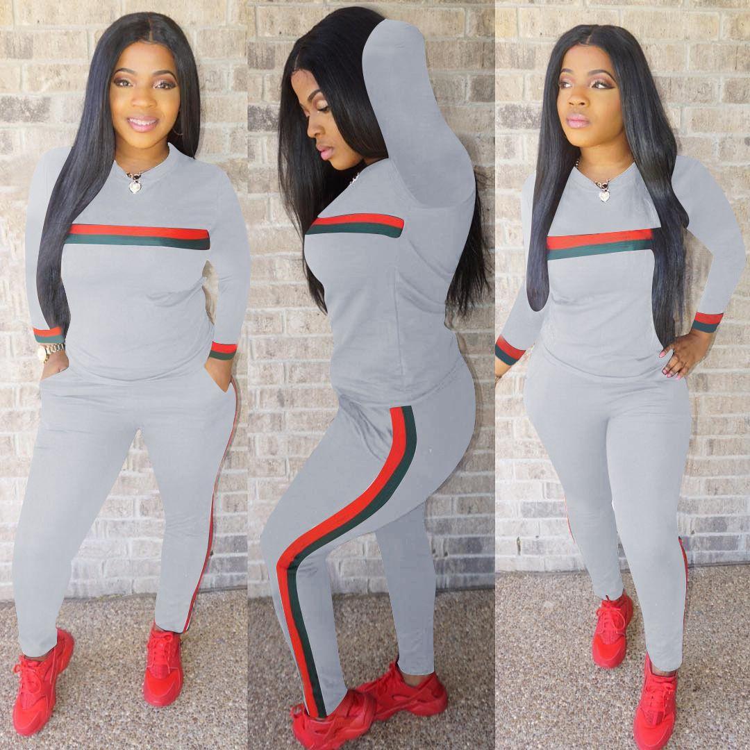 Yeni Bayan Tracsuits Uzun Kollu Spor Suit Günlük Tops ve Pantolon Lady Çizgili Sonbahar Kış Jumpsuit 2 adet kıyafetler Spor eşofman yazdır