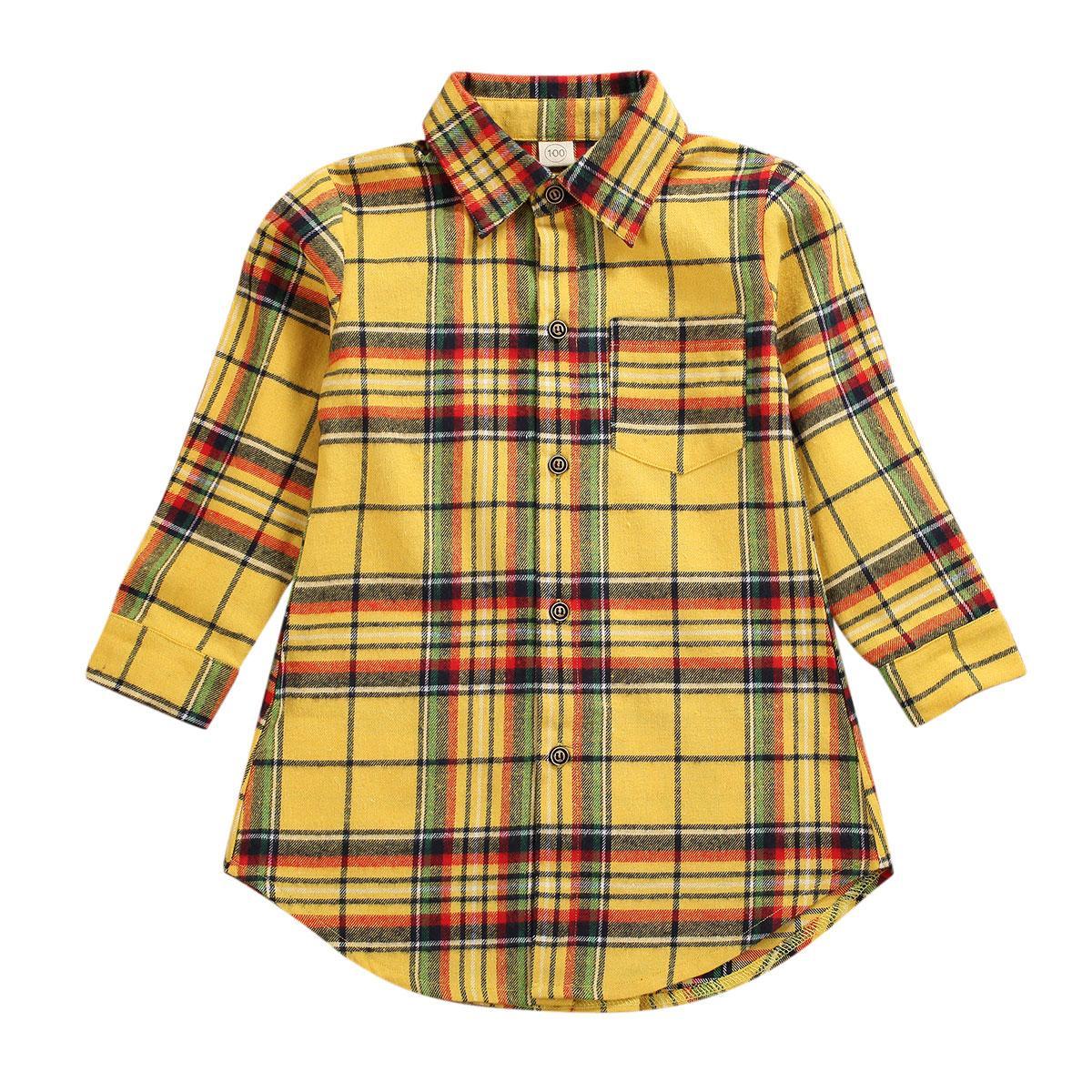 Primavera Autunno ragazze Plaid Shirt Coat bambini a manica lunga vestiti casuali per età 1-7 anni