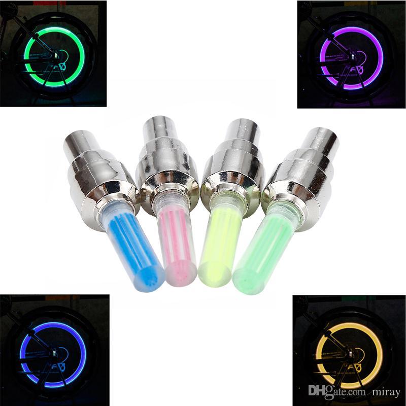 en stock Vélo Buse Neon Light Tire gaz Buse noyau Valve Glow Stick lumières LED d'extérieur Roue de bicyclette Lumière vélo Accessoires