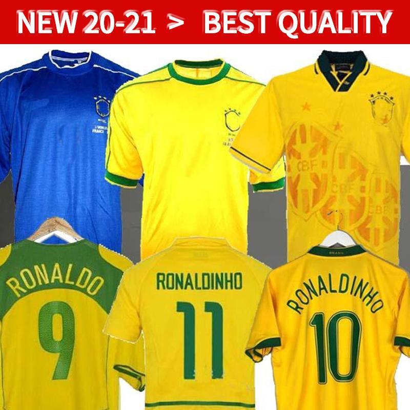 1998 البرازيل الرئيسية الرجعية لكرة القدم الفانيلة 2002 قمصان كلاسيكية كارلوس روماريو رونالدو رونالدينهو 2004 كاميسا دي فيوتول 1994 Bebeto 2006