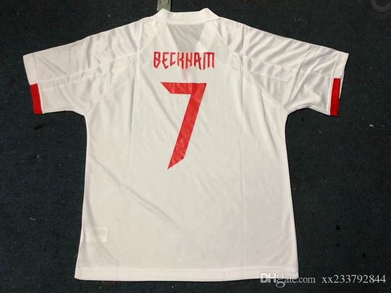 Retro BECKHAM camisas de futebol PRE JSJY imprimir camisetas Retro camisa casual de futebol t